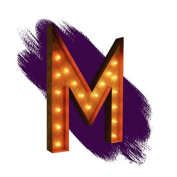 """36"""" Letter M Lighted Vintage Marquee Letters (Rustic)"""