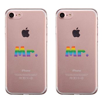LGBT Mr. Mr. Rainbow Clear Matching Phone Cases
