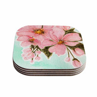 "Christen Treat ""Fumiko"" Pink Green Coasters (Set of 4)"