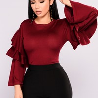 Cloud Nine Tiered Sweater - Burgundy