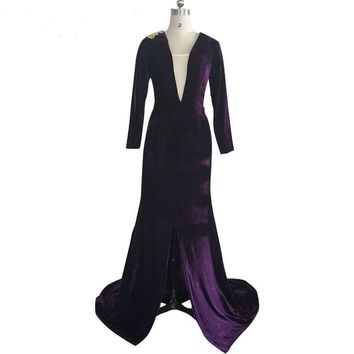 Purple Velvet Mermaid Evening Dress High Split  Dress Formal Party Gown  V-neck
