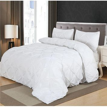 Luxury Duvet Cover Set White/Black Pinch Pleat 2/3pcs Twin/Queen/King Bedding Sets (No filling,No sheet)