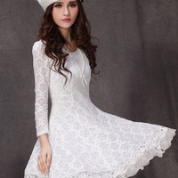 White Long Sleeve Floral Lace Pleated Dress