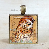 Owl stamp necklace, artistic bird drawing, owl painting, owl illustrations, glass tile keychain, woodland necklace, amber orange brown