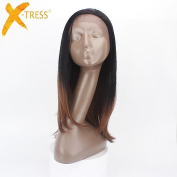 X-TRESS Straight Brown Ombre Synthetic Wigs Kanekalon Lace Front Heat Resistant Hair #TT2-30 Free Parting 26 inches Long Wigs