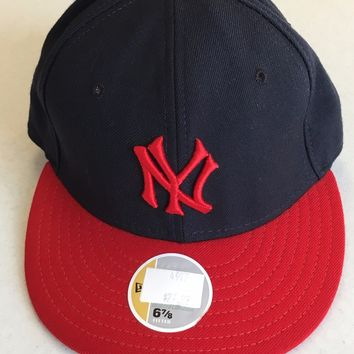 NEW YORK YANKEES MLB RETRO NEW ERA 5950 RED NY FLAT BRIM FITTED HAT