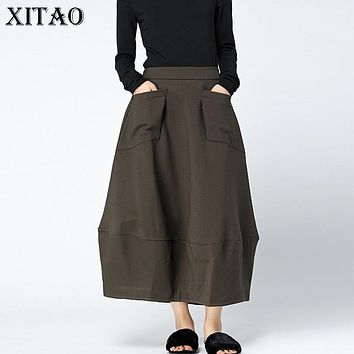 [XITAO] 2017 England Style Korea Autumn New Women Solid Color Pockets Loose Skirts Female Ankle-Length Patchwork Skirts XWW1118