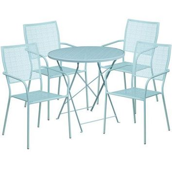 30'' Round Sky Blue Indoor-Outdoor Steel Folding Patio Table Set with 4 Square Back Chairs