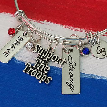 Support The Troops Slide Bracelet, Slide Bangle,Freedom is Not Free,Patriotic,USA,Charm Bangle ,Gift for military mom,gift for military wife