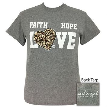 Girlie Girl Originals Preppy Faith Hope Love Leopard Heart T-Shirt