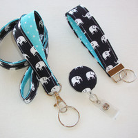 Lanyard ID Badge Holder - retractable Reel - Key FOB / KeyChain / Wristlet Set - White elephants on black with aqua dots - coworker gift