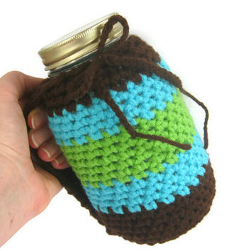 Crocheted Mug Holder with Handle. Aqua Blue, Lime Green & Brown, Quart Size Mason Kerr Jar, Sky Blue Aqua Blue and Brown, Reduce your Impact
