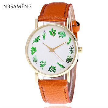 New Women Watch Men Herbs Vegetables Dress Simple Brand 2017 Wristwatch Ladies Clock Leather Watches Relogio Feminino LZ4223