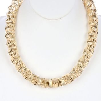 Gold Twisted Coil Wire Spring Bib Necklace