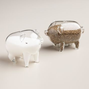 Glass Pig Salt and Pepper Shaker Set