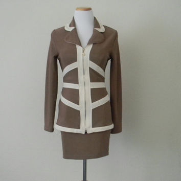 FREE usa SHIPPING Vintage 1980's 2 Piece secretary suit skirt/ tailored top tan color polyester spandex retro chic padded shoulders size S