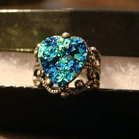 Victorian Style Faux Druzy / Drusy Ring in Antique Silver - Adjustable (1091)
