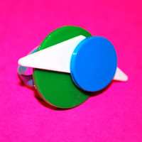 Abstract Geometric Blue, Green and White Ring