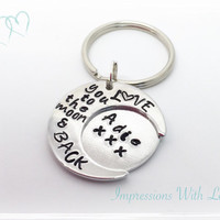 Personalised hand stamped love you to the moon and back keyring
