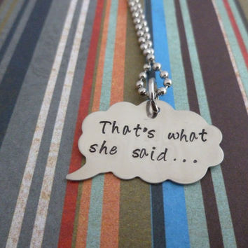 Thought Bubble Necklace - That's what she said - The Office Inspired