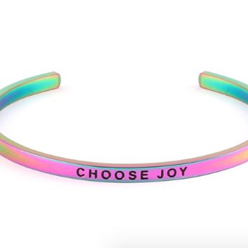 Choose Joy Mantra Bangle in Rainbow Color