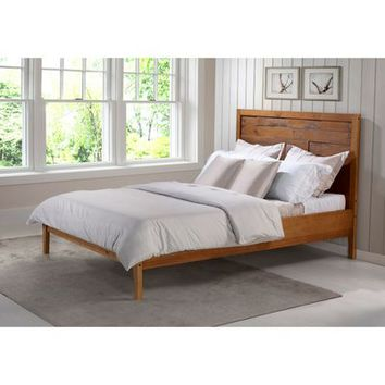 Distressed Carame Wood Queen Bed