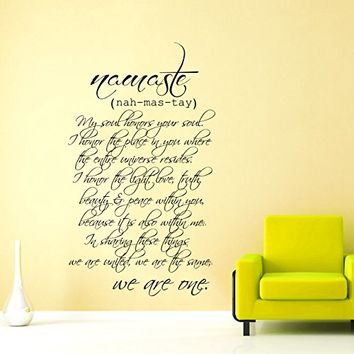 Wall Decals Quotes Buddha Quote - nah-mas-tay - I Honor You Soul - Lotus Mandala Om Namaste Yoga Indian Buddha Wall Vinyl Decal Stickers Bedroom Murals