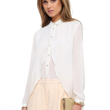 Long-Sleeve Asymmetrical Layered Button Collar Chiffon Shirt