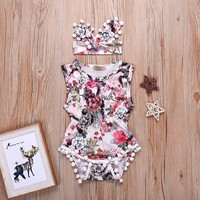 Baby 2-piece Floral Romper and Headband for Baby Girl at PatPat.com