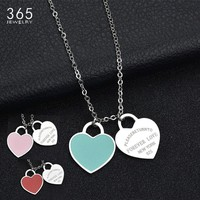 """Fashion Accessories Enamel Double Heart Pendant Stainless Steel Necklace """"FOREVER LOVE"""" Letter Necklace Wedding Gift"""