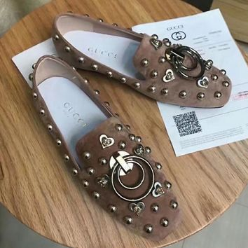 GUCCI Slip-On Women Casual Fashion Leather Flats Shoes