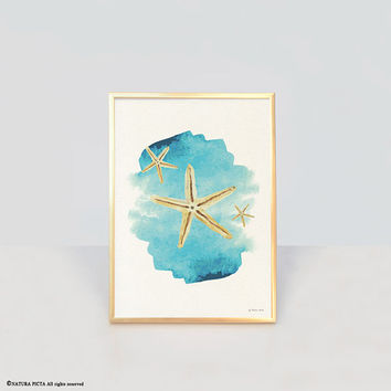 Starfish print-ocean wall art-beach decor-watercolor print-bathroom print-home decor-coastal print-nautical print-art-by NATURA PICTA-NPWP12