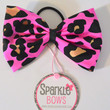 Pink and Gold Cheetah Perfect Pony Tail Bow Tie Hair Bow