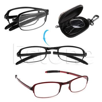 Unisex Foldable Reading Glasses Man Woman Folded Hanging Eyeglass +1 +1.5 +2 +2.5 +3 +3.5 +4.0