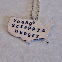 Young Scrappy and Hungry Necklace. Hamilton Inspired Necklace. Alexander Hamilton. 18 Inch Chain.