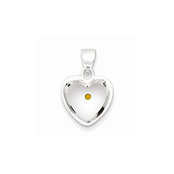 Sterling Silver Enameled With Mustard Seed Heart Pendant