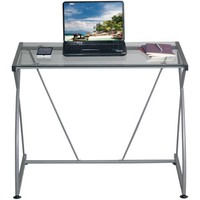 Techni Mobili Tempo Grey Desk, Multiple Glass Finishes - Walmart.com