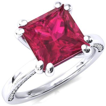 Ain Princess Ruby 4 Double Prong Single Rail Diamond Accent Engagement Ring
