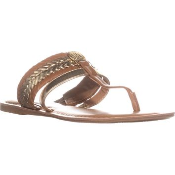 Tommy Hilfiger Lady T-Strap Braided Slide Flat Sandals, Gold, 7.5 US