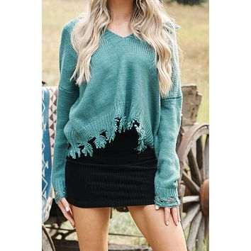 One More Distressed Sweater (Cactus Green)