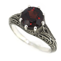 Antique Finish Filigree Sterling Silver Round Cut Natural Mozambique Garnet Ring (2.5 CT.T.W) (6)