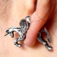 Silver Unicorn Through Earrings