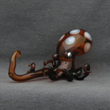 Octopus Glass Pipe 3D Medium Hand Blown Thick Wall Spoon in Amber with Amber Purple & Pink Cadillac Dots