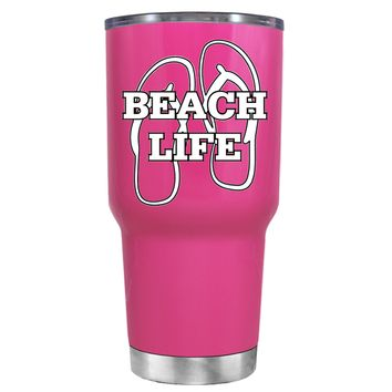 The Beach Life Sandals on Bright Pink 30 oz Tumbler Cup