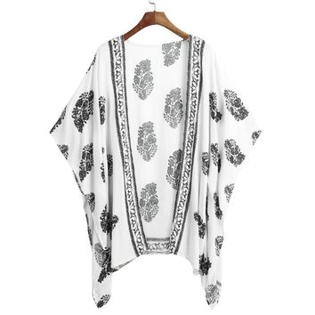 New Women Summer Kimono Cardigan Bikini Cover Up Floral Beach Robe Kaftan Boho Blouse Top Beachwear