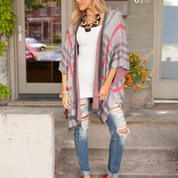 Burberry Open Front Cardigan Gray