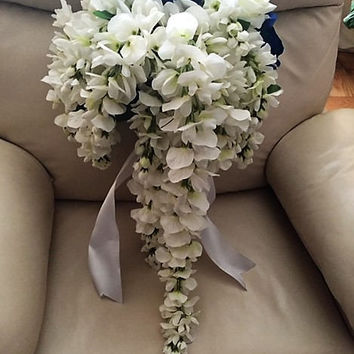Blue and White Silk Bouquet