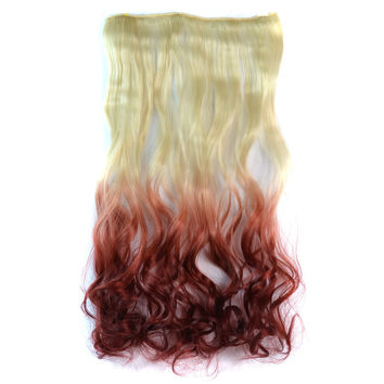 Hot Deal Beauty Hot Sale On Sale Sexy Ladies Wigs Beige Gradient Wine Red Clip Curly Hair Hair Extensions [4923176772]