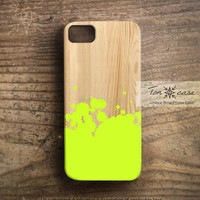 Hipster iPhone 4 case - Colorful iPhone 4s case, iPhone 5 case, neon green, yellow, aqua, mint, hot pink - ink painting on wood (c163)