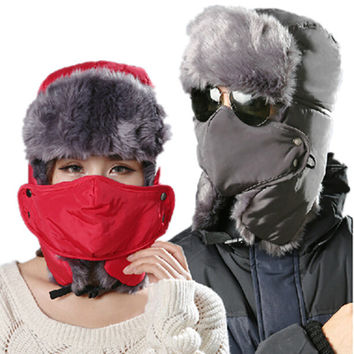 Thicken Winter Hat For Man Solid Hats Russian Hat Sport Outdoor Ear Mask Bomber Caps For Woman Bone